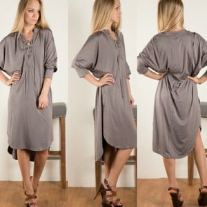 cacb6a037f Dresses   Skirts - GRAY SILKY LACE UP DRESS